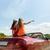 gelukkig · vrienden · rijden · kabriolet · auto · land - stockfoto © dolgachov