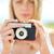 femme · photos · rétro · caméra · jeune · femme - photo stock © dolgachov