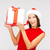 gülümseyen · kadın · yardımcı · şapka · hediye · kutusu · Noel - stok fotoğraf © dolgachov