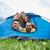 Coppia · tenda · camping · acqua · donne · prato - foto d'archivio © dolgachov