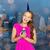 happy woman or teen girl with birthday cupcake stock photo © dolgachov