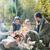 boldog · család · mályvacukor · tábortűz · utazás · turizmus · túrázik - stock fotó © dolgachov