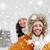 boldog · pár · szórakozás · hó · fut · ugrik - stock fotó © dolgachov