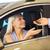 jeune · femme · nouvelle · voiture · clé · voiture · femme · heureux - photo stock © dolgachov