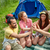 happy friends making high five at camping stock photo © dolgachov