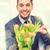 virág · futár · jóképű · fiatalember · virágok · izolált - stock fotó © dolgachov