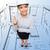 sorridente · empresária · dedo · para · cima · negócio · educação - foto stock © dolgachov
