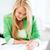 mosolyog · diák · lány · dolgozik · laptop · főiskola - stock fotó © dolgachov