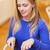 mutlu · kadın · akşam · yemeği · restoran · boş · gıda - stok fotoğraf © dolgachov
