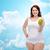 szczęśliwy · plus · size · kobieta · bielizna · jabłko - zdjęcia stock © dolgachov