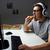 мужчины · играет · компьютерная · игра · еды · пиццы · темно - Сток-фото © dolgachov