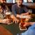 groep · vrienden · smartphones · bar · restaurant - stockfoto © dolgachov