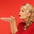 kadın · bir · şey · avuç · içi · eller · kırmızı · elbise - stok fotoğraf © dolgachov