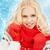bela · mulher · vermelho · luvas · neve · quadro · mulher - foto stock © dolgachov