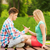 smutne · nastolatków · posiedzenia · ławce · parku · dziewczyna - zdjęcia stock © dolgachov