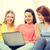 группа · три · девочек · используя · ноутбук · домой · девушки - Сток-фото © dolgachov