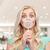 blonde · vrouw · naar · vergrootglas · ontwerp · achtergrond · lezing - stockfoto © dolgachov