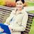glimlachende · vrouw · naar · business · internet · technologie - stockfoto © dolgachov