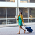 gelukkig · jonge · vrouw · lopen · straat · afbeelding - stockfoto © dolgachov