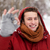 mutlu · adam · sıcak · eşarp - stok fotoğraf © dolgachov