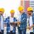 csoport · mosolyog · építők · táblagép · kint · üzlet - stock fotó © dolgachov