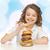 adolescente · manger · hamburger · fille · visage · amis - photo stock © dolgachov