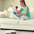 счастливым · женщину · робота · пылесос · домой · люди - Сток-фото © dolgachov