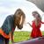 kadın · kırık · araba · kırmızı · üçgen · İngiliz · anahtarı · eller - stok fotoğraf © dolgachov