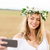 szczęśliwy · młoda · kobieta · kwiat · wieniec · zbóż · dziedzinie - zdjęcia stock © dolgachov