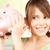 jong · meisje · tonen · euro · geld · spaarvarken · merkt - stockfoto © dolgachov
