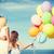 padre · hija · colorido · globos · verano · vacaciones - foto stock © dolgachov
