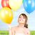 szczęśliwy · balony · biały · kobieta · charakter - zdjęcia stock © dolgachov