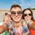 grupy · szczęśliwy · znajomych · ulicy · turystyki - zdjęcia stock © dolgachov