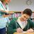 Öğrenciler · sınav · yazı · kütüphane · insanlar · bilgi - stok fotoğraf © dolgachov