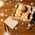 close up of oat cookies and card on wooden table stock photo © dolgachov