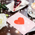 close up of greeting card with heart and coffee stock photo © dolgachov