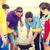 grupo · feliz · amigos · brincadeira · churrasco - foto stock © dolgachov