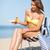menina · creme · verão · férias - foto stock © dolgachov
