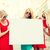 three happy blonde women with blank white board stock photo © dolgachov