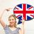 gülümseyen · kadın · metin · kabarcık · İngiliz · bayrağı · eğitim · dil - stok fotoğraf © dolgachov