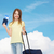 smiling girl with suitcase ticket and passport stock photo © dolgachov