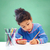 little · girl · lápis · bonitinho · desenho · casa - foto stock © dolgachov