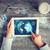 mavi · global · dünya · haritası · işkadını · eller · küre - stok fotoğraf © dolgachov