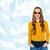 красивая · девушка · синий · свитер · джинсов · портрет - Сток-фото © dolgachov