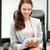 happy woman with big notepad stock photo © dolgachov