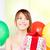 parti · kız · balonlar · hediye · kutusu · mutlu · kadın - stok fotoğraf © dolgachov