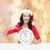 mosolygó · nő · mikulás · segítő · kalap · óra · karácsony - stock fotó © dolgachov