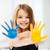 kız · boyalı · eller · çekmek · yalıtılmış · beyaz - stok fotoğraf © dolgachov