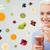 gelukkig · vrouw · home · vruchten · jonge · handen - stockfoto © dolgachov