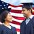счастливым · пару · американский · флаг · международных · дружбы · свободу - Сток-фото © dolgachov